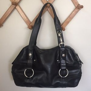 DKNY Black Leather Lux Buckle Satchel Handbag Bag